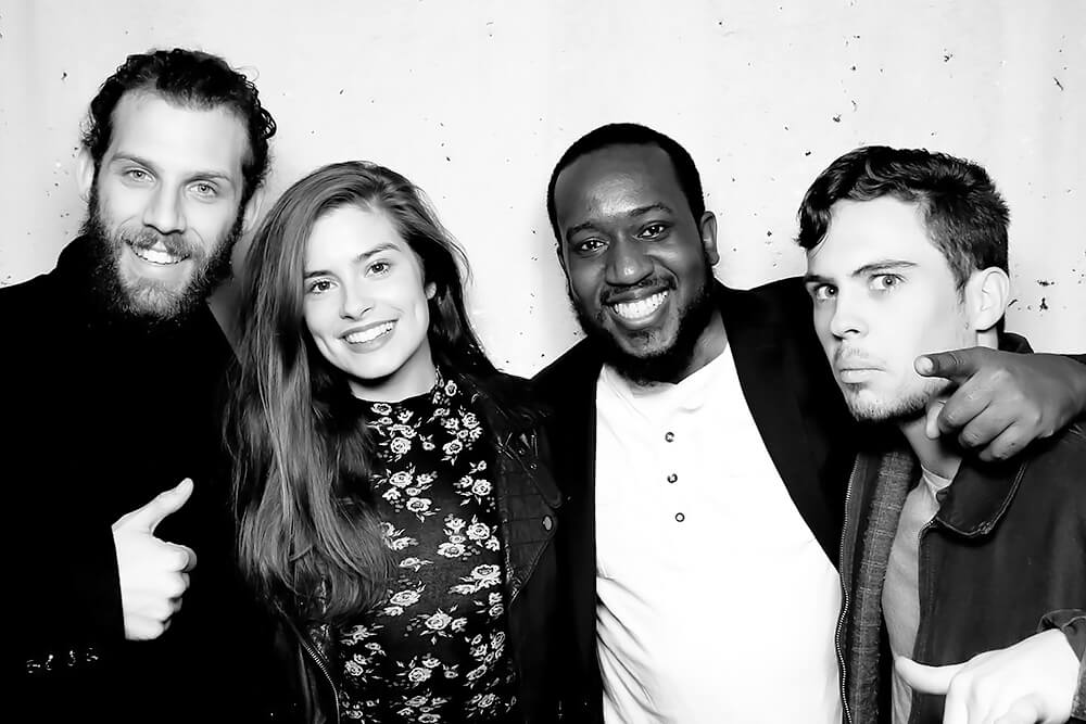 Black & White Photo Booth Picture with four friends