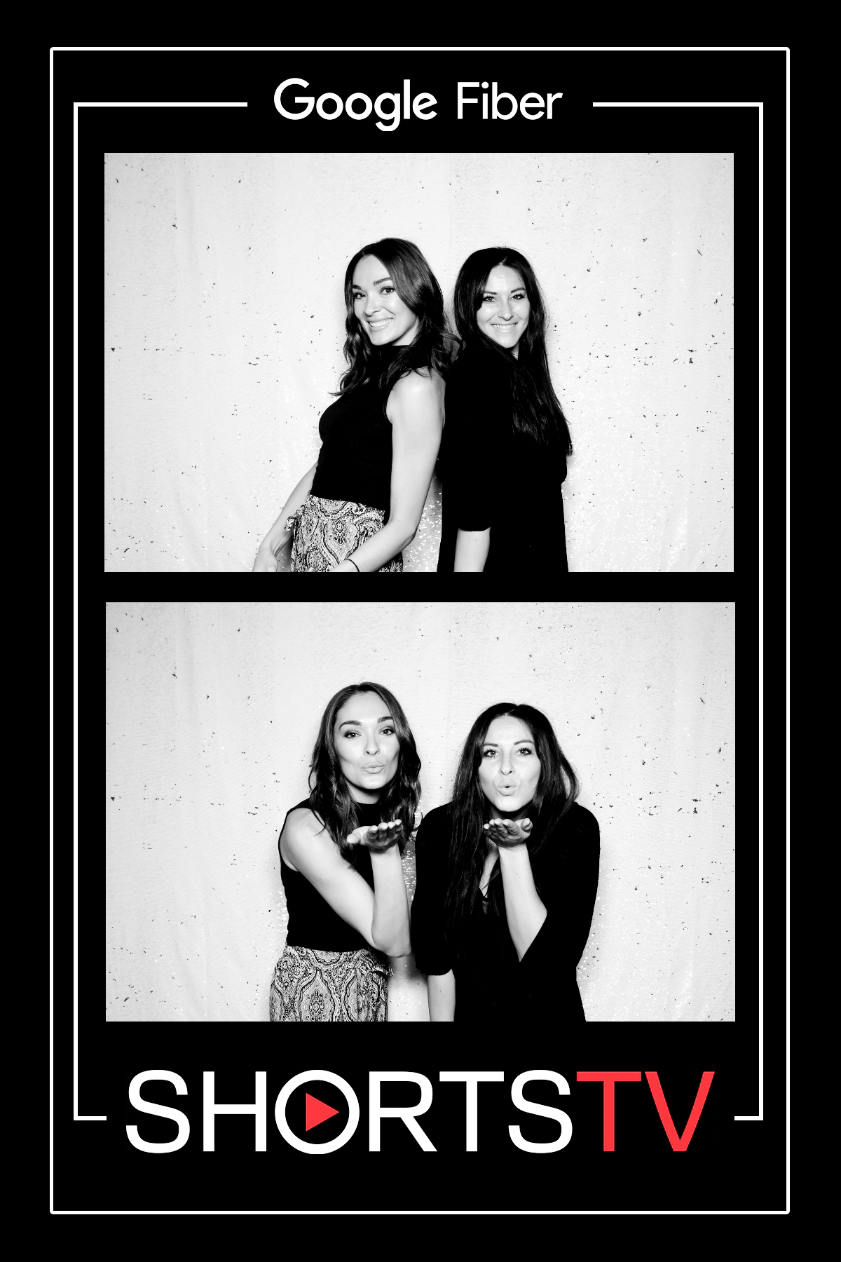 Photo Booth Composite Image of Two Women with Glam Filter applied