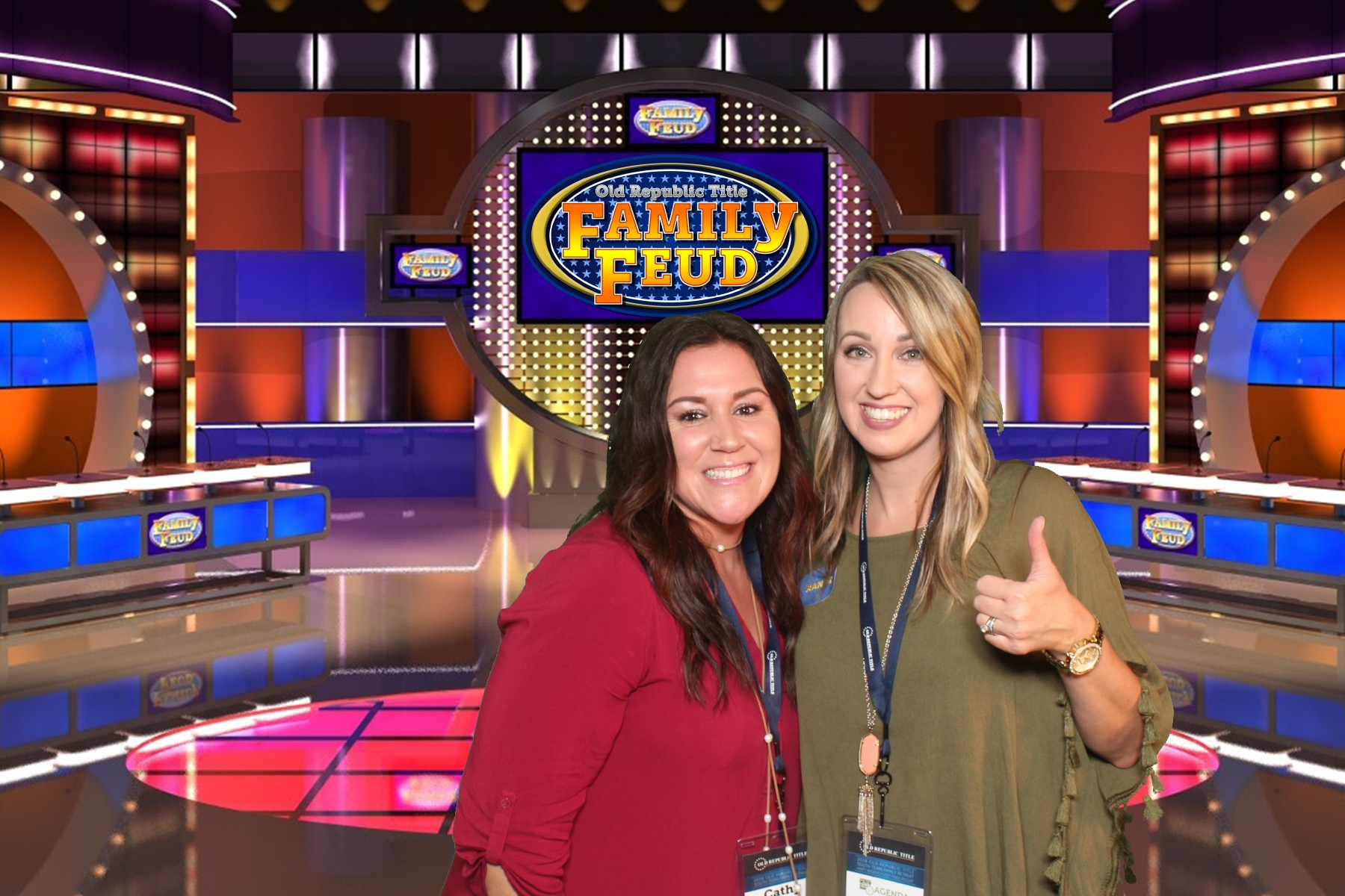Green Screen image of two friends standing in front of a Family Feud game show scene